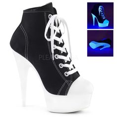 6 inch Heel, 1 inch PF Sneaker, Side Heel, 1 Platform Lace Up Front Canvas Sneaker Featuring Blacklight Reactive Platform Bottom, Full Inside Zip ClosureVegan StyleWomen's SizingSize Range: White Platform Sneakers, Platform High Heels, High Heel Boots, Heeled Boots, Shoe Boots, High Heel Tennis Shoes, Rosa High Heels, Pink High Heels, Sneakers Mode