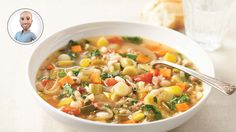 Make this warm minestrone soup recipe from Stefano Faita. Soup Recipes, Cooking Recipes, Healthy Recipes, Yummy Recipes, Healthy Food, How To Soak Beans, Cheeseburger Chowder, Vegetarian, Yummy Food