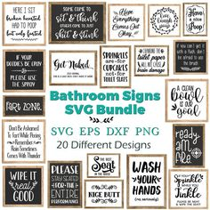 DIGITAL DOWNLOAD: Bathroom Signs Svg Bundle. If you have any questions, please feel free to message me on Etsy. This listing is for a DIGITAL FILE (s) and no physical product will be mailed to you. What do you receive? 1 ZIP FOLDER containing the SVG files for all 20 designs; 1 ZIP FOLDER