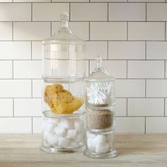 Stacked Apothecary Jars ~ Great Space Savers. Only thing... I'm suck a Klutz.