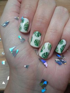 Palm tree nails tutorial nails pinterest palm tree nails monstera deliciosa nail decals cheese plant tropical botanical leaves leaf prinsesfo Images