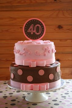 40th birthday cake I made for my sister's surprise party.  It is buttercreme with polka dots made from candy melts dusted in shimmer dust.  Top layer is vanilla and bottom is chocolate with hazelnut filling.  I made the topped with my Cricut (scrapbook supplies).