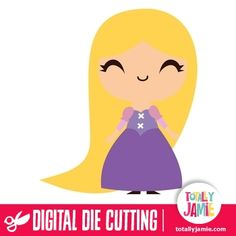 Cute Princess Rapunzel  - Check out this cute Princess Rapunzel die cutting file. Digital die cutting files are designed specifically with cutting machines in mind. Use them with programs such as your Silhouette, Cricut (SCAL/MTC), Pazzles, Klick-n-Kut, Wishblade or any cutting machine that can use the following file formats: SVG, PDF, and DXF....
