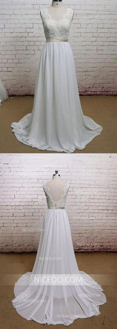 Elegant White A Line Open Back Chiffon Wedding Dresses Best Bride Gown - Wedding Dresses 2019 Best Brindal Shabby Chic Wedding Dresses, Lace Beach Wedding Dress, New Wedding Dresses, Cheap Wedding Dress, Wedding Dressses, Bridal Dresses, Wedding Stuff, Wedding Ideas, Inexpensive Bridesmaid Dresses