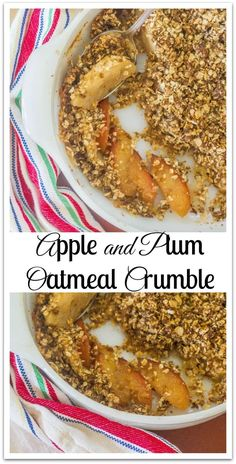 Apple and Plum Oatmeal Crumble. Fresh fruit topped with an oatmeal, butter and brown sugar topping and baked. Oatmeal Recipes, Waffle Recipes, Best Breakfast Recipes, Brunch Recipes, Gooseberry Patch Cookbooks, Fresh Fruit Desserts, Southern Recipes, Southern Food, Southern Comfort