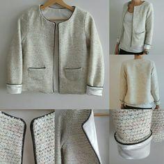 Veste type Chanel, patron Japon de Madeinmecouture, lainage de chez Mondial Tissus, entièrement doublée, poches modifiées et passe-poil simili cuir