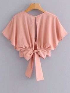 To find out about the Tie Back Butterfly Sleeve Blouse at SHEIN, part of our latest Blouses ready to shop online today! Girls Fashion Clothes, Teen Fashion Outfits, African Fashion Dresses, Trendy Outfits, Girl Fashion, Girl Outfits, Cute Outfits, Emo Outfits, Punk Fashion