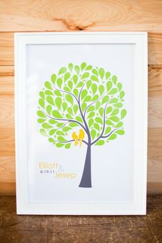 I love the 'love birds' idea -- but I'd have guests leave their finger prints as the leaves instead of pre-made ones!