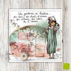 """""""Une guirlande de bonheur ... des rires, des chants d'oiseaux, des silences et des rêves, de l'amour, ..."""" - Mon amie Luce Carte de voeux simple au format 14 x 14 cm, imprimée en Belgique sur papier FSC dans une imprimerie utilisant des techniques d'impression écologiques. Carte fournie avec enveloppe. Modèle illustré par Myra Vienne; illustrateur belge aux Editions de Cortil."""