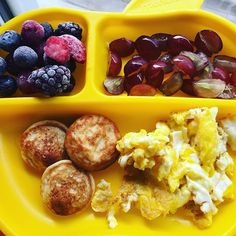 Breakfast this morning was an egg scrambled in coconut oil, a few Belgian Boys mini pancakes, frozen berry blend, and some quartered grapes. She ate all of her egg, nibbled at her pancakes but ultimately decided she wasn't a fan, and ate her grapes. I have to admit the berry blend was very tart so I might just use them for smoothies from now on. #pickyeater #picky #pickytoddler #toddlereats #toddlerfood #toddlermeals #whatifeedmykid #whatmytoddlereats #17months #pickybites