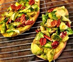 Shawn Johnson's The Body Department - Brussels Sprouts and Pecan Stuffed Sweet Potatoes Sweet Potato Kale, Yummy Food, Delicious Meals, Healthy Food, Yummy Eats, Vegetable Dishes, Vegan Gluten Free, Love Food, Brussels Sprouts