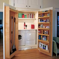 22 Creative Hidden Laundry Cupboard For Small Spaces Tiny Laundry Rooms, Laundry Room Organization, Laundry Room Design, Laundry In Bathroom, Laundry Storage, Organization Ideas, Basement Laundry, Laundry Area, Clever Storage Ideas