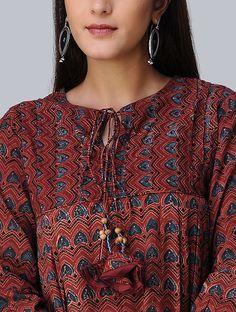 Madder-Indigo Pleated Ajrakh Cotton Kurta by Jaypore Kurti Sleeves Design, Kurta Neck Design, Dress Neck Designs, Blouse Designs, Sleeve Designs, Printed Kurti Designs, Kurti Patterns, Sewing Patterns, Embroidery Suits Design