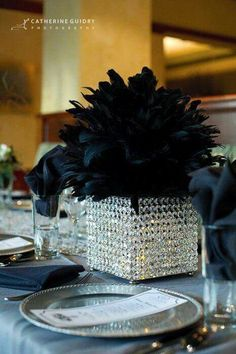 Top 5 Never Been Seen Wedding Table Centerpieces - Put the Ring on It Great Gatsby Party, Gatsby Theme, Party Centerpieces, Wedding Decorations, Centrepieces, Feather Decorations, Ostrich Feather Centerpieces, Pearl Decorations, Graduation Centerpiece