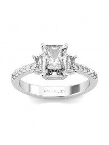 Sterling Silver Radiant Cut White CZ Cubic Zirconia 3 Stone Ring