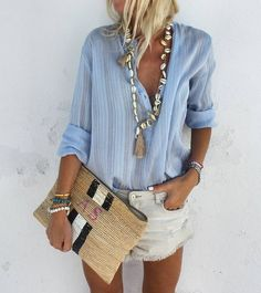 """5,370 Likes, 43 Comments - Anna Skoog (@annamavridis) on Instagram: """"Summer Basics ♡ @lollyslaundry shirt @malabylove necklace @raefeather clutch #casual #summerstyle…"""""""