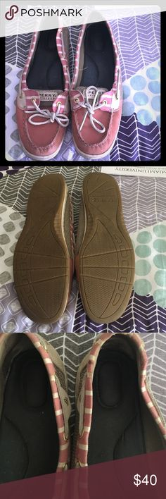 Sperry Boat Shoes Worn condition. New insoles would do them some good. Yes there are scuff marks because they have been worn. Paid $100 for them Sperry Shoes Flats & Loafers