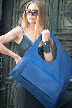 Premium Leather Tote Bag, Genuine Leather Tote Large Bag, Blue Genuine Leather…