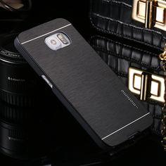 Deluxe En Aluminium De Marque En Métal Brosse Dur Cas de Couverture Arrière pour Samsung Galaxy S6 S7 Bord Plus S5 S4 S3 mini Note 3 4 5 7 i9082