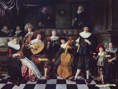 His family portrait(1635) Artwork by Jan Miense Molenaer Hand-painted and Art Prints on canvas for sale,you can custom the size and frame