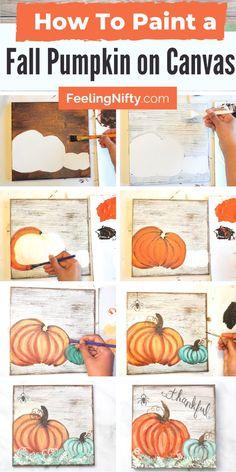 Pumpkin Canvas Painting, Autumn Painting, Diy Canvas Art, Autumn Art, Fall Canvas Art, Fall Paintings, Acrylic Paintings, Canvas Painting Tutorials, Diy Painting