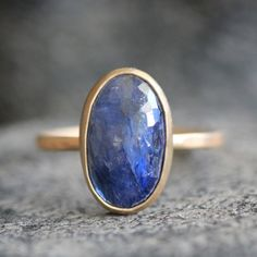 Ink Blue Sapphire Ring in Recycled Solid Gold by apostrophie, $471.00