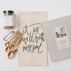Handmade It Is Well With My Soul tea towel by Parris Chic Boutique- styling by @thatsdarlinggifting- kitchen decor- home decor- photo by @briannawilburphoto #showusyourPCB
