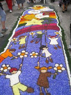 flower petal art in Spello, Province of Perugia , Umbria Italy