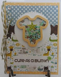 Cute As A Button.....................Handmade Shaker Card for A Brand New Baby Handmade Envelopes, Button Cards, Shaker Cards, Magical Creatures, Small Gifts, Little Gifts, Postage Stamps, Autumn Leaves, New Baby Products
