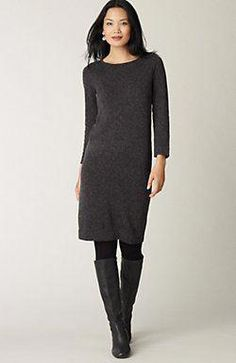 0559bf576946 Tweed Sweater Dress, with tights and boots. Stunning Fashion · Fall Fashion  Trends