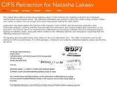 Apology Letter for Natasha Lakaev