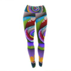 "Michael Sussna ""Flor Essence"" Rainbow Spiral Yoga Leggings"