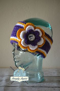 READY TO SHIP - Teen/Adult Washington Huskies Inspired Flower Earwarmer Headband with Logo Center - College Baseball, Basketball, Football by SimplySquid on Etsy