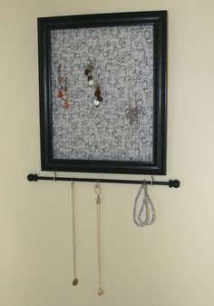 jewelry organizer~~picture, take glass off and replace with wiring or hooks