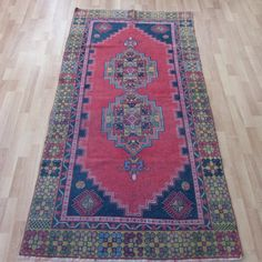 FREE SHIPPING Turkish Oushak Rug 3.3x6.5ft Distressed Red Vintage Anatolian Carpet Handmade Lowpile Runner Rug Muted Color Kilim Tribal Rugs