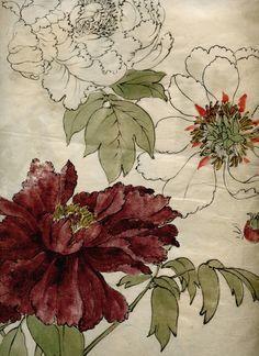 peonies from a japanese meiji era sketchbook. Art Floral, Motif Floral, Floral Fabric, Botanical Drawings, Botanical Prints, Art And Illustration, Japanese Prints, Japanese Art, Impressions Botaniques
