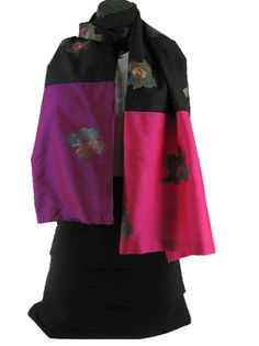 ****** Black Magic *****    Ultra modern motifs, hand painted and rendered beautifully are the hallmark of this scarf. You cannot go wrong with the dramatic purple and fuchsia panels that adorn this otherwise all black scarf.    Women's Hand Painted Summer Scarf by ArachneStyle on Etsy, $50.00