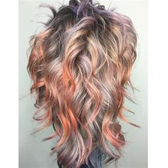 How-To: Metallic Sunset - Modern Hair Styles For Women Over 50, Short Hair Cuts For Women, Long Hair Styles, Peekaboo Hair, Sunset Hair, Hair Color Purple, Balayage Hair, Haircolor, Grunge Hair