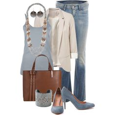 elegant denim Polyvore Set Featuring the Stella & Dot Mesa Necklace | Buy yours at: www.stylistclara.com