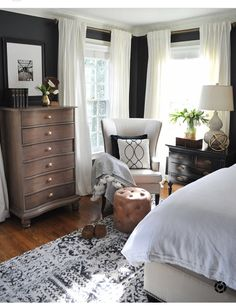 Modern Home Decor Bedroom – Southern Home Decor Dark walls, white curtains, master bedroom and guest room ideas 88 Wonderful Master Bedroom Makeover Ideas Bedroom design ideas can be inspiration to make you redo your bedroom beautifully. A New Rug and A Blue Master Bedroom, Farmhouse Master Bedroom, Master Bedroom Makeover, Master Bedroom Design, Home Decor Bedroom, Bedroom Furniture, Bedroom Ideas, Bedroom Designs, Master Suite