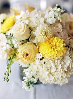 Pretty centerpiece- hydrangeas, dahlias, roses among others