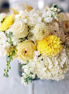 pretty yellows with hydrangeas, dahlias, garden roses, spray roses, orchids, & stock