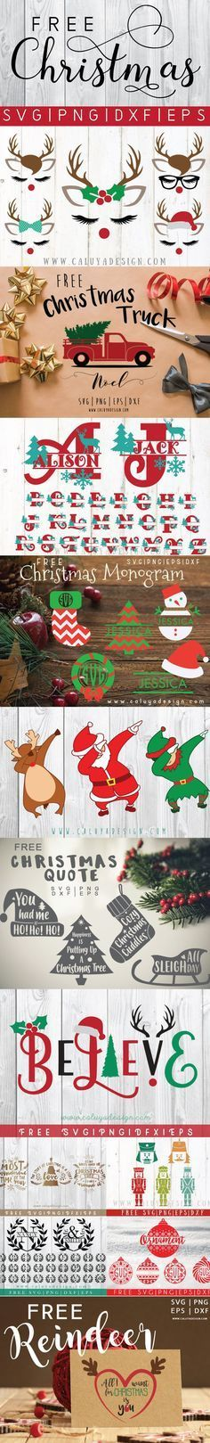 FREE 12 Christmas cut files Bundles. FREE christmas SVG, PNG, EPS & DXF cut files. Compatible with Cricut, Cameo silhouette and other major cut machines.