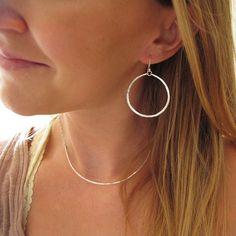 Silver Hoop Earrings - Handmade Hammered Sterling Silver Hoops - Everyday Lightweight Silver Round H