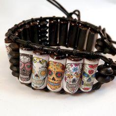 ☮ American Hippie Bohemian Boho Style .. Jewelry - sugar skull cuff bracelet