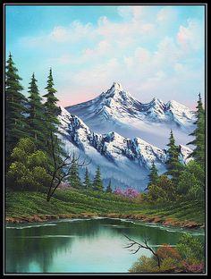 bob ross most popular paintings Bob Ross Paintings, Scenery Paintings, Mountain Paintings, Landscape Paintings, Acrylic Paintings, Painting Art, Painting Abstract, Original Paintings, Pinturas Bob Ross