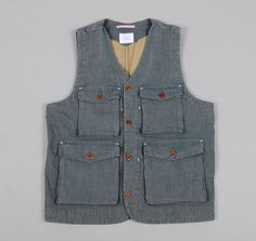 STANDARD ISSUE UTILITY VEST, CHAMBRAY :: HICKOREE'S