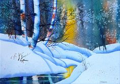 Snowy Forest. watercolor by Teresa Ascone