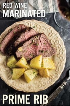 Red Wine Marinated Prime Rib with Potatoes makes a unique holiday meal. Marinated in red wine, Worcestershire sauce, onion, garlic and fresh herbs, this prime rib roast is perfect for your holiday or Christmas dinner. Gluten free and clean eating ingredie