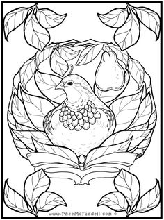 Partridge in a Pear Tree Coloring Page Owl Coloring Pages, Tree Coloring Page, Free Adult Coloring Pages, Coloring Sheets, Coloring Books, Christmas Activities For Kids, Christmas Crafts, Christmas Drawing, Christmas Embroidery